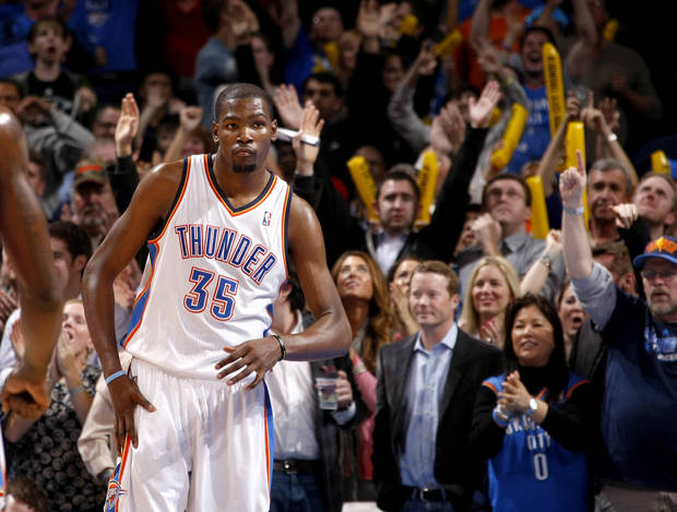 Oklahoma City's Kevin Durant (35) reacts after making a three-point basket late in the fourth quarter of an NBA game between the Oklahoma City Thunder and the Memphis Grizzlies at Chesapeake Energy Arena in Oklahoma CIty, Friday, Feb. 3, 2012. Photo by Bryan Terry, The Oklahoman