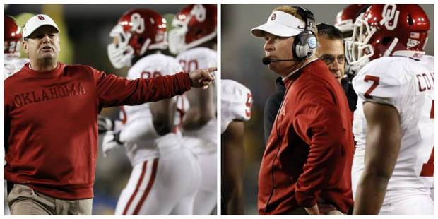Bob and Mike Stoops (Photos by Nate Billings, The Oklahoman)