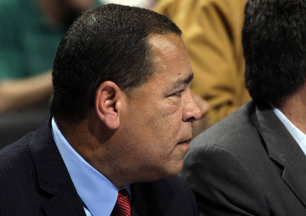 Houston assistant coach Kelvin Sampson watches game action during the NBA basketball game between the Oklahoma City Thunder and the Houston Rockets at the Chesapeake Energy Arena, Tuesday, March 13, 2012. Photo by Sarah Phipps, The Oklahoman.