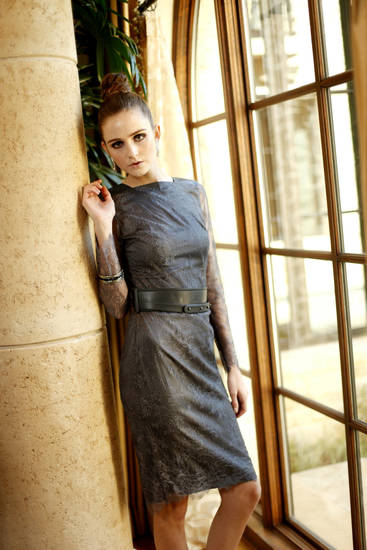Catherine Deane lace dress with leather accents and Judith Leiber jewelry, available at Liberte. Makeup by L.J. Hill. Hair by Dianne Truong, Trichology Salon. Photo by Doug Hoke, The Oklahoman    <strong>DOUG HOKE</strong>
