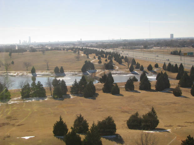 Looking southwest toward downtown Oklahoma City from The Oklahoman building near Britton Road and Broadway Extension. <strong></strong>