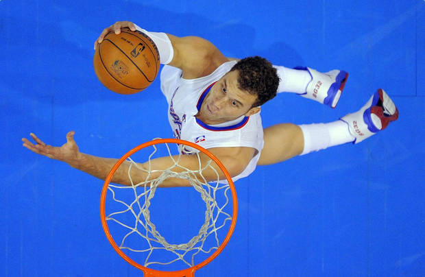 Los Angeles Clippers  forward Blake Griffin puts up a shot during the first half of their NBA basketball game against the Orlando Magic, Saturday, Jan. 12, 2013, in Los Angeles. (AP Photo/Mark J. Terrill)