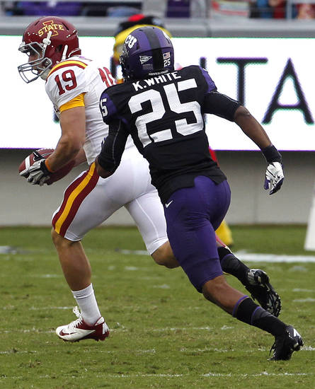 Iowa State wide receiver Josh Lenz (19) beats TCU cornerback Kevin White (25) on a 51-yard touchdown reception during the first half of an NCAA college football game on Saturday, Oct. 6, 2012, in Fort Worth, Texas. (AP Photo/LM Otero)