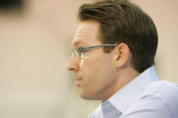 Oklahoma City Thunder General Manager  Sam  Presti answers questions during the final press conference of the season in Oklahoma City, Oklahoma, Friday, April 17, 2009. Photo by Steve Gooch