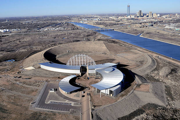 The unfinished American Indian Cultural Center and Museum is shown, with the Oklahoma River and downtown Oklahoma City in the upper left. PHOTO PROVIDED
