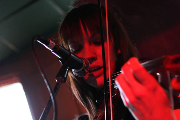 Angela Allen of Modern Rock Diaries performing a set at SXSW on Tuesday afternoon.