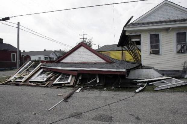 Picture of house toppled by hurricane