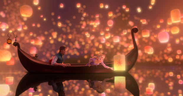 "Flynn Rider (voice of Zachary Levi) and Rapunzel (voice of Mandy Moore) appear in a scene from the Disney animated feature ""Tangled."" <strong></strong>"