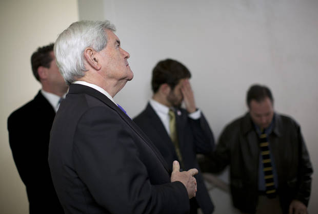 Republican presidential candidate, former House Speaker Newt Gingrich waits to be introduced during a campaign stop on Monday, Feb. 20, 2012 in Oklahoma City, Okla.  (AP Photo/Evan Vucci) ORG XMIT: OKEV118