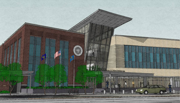 Conceptual designs for the new Oklahoma City police headquarters, presented Thursday to the Downtown Design Review Committee, include a mix of modern materials and facade colors and designs intended to reflect the surrounding Civic Center. Drawings provid