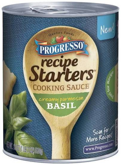 "This undated product image provided by General Mills Inc.  shows the company's line of ""Progresso Recipe Starters"". As more people try their hand at mimicking sophisticated recipes from cooking shows and blogs, food companies are rolling out meal kits and starters that make amateur chefs feel like Emeril Lagasse or Rachael Ray in the kitchen. (AP photo/General Mills)"