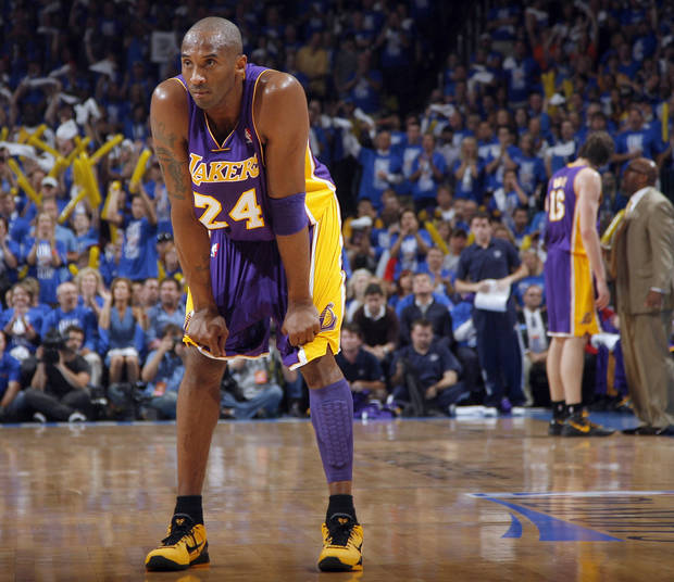 Los Angeles' Kobe Bryant (24) reacts to a play during Game 1 in the second round of the NBA playoffs between the Oklahoma City Thunder and the L.A. Lakers at Chesapeake Energy Arena in Oklahoma City, Monday, May 14, 2012. Photo by Sarah Phipps, The Oklahoman
