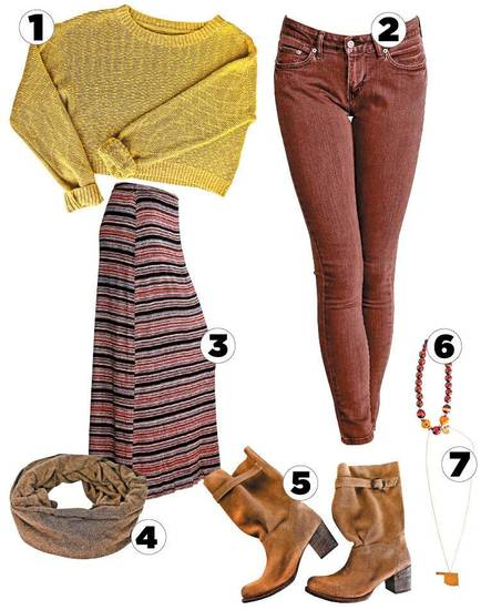 OK Indie 1. Bed Stu tan suede boots  2. Gold Oklahoma necklace 3. Stripe knit Element maxi skirt 4. Obey mustard knit sweater 5. Wood bead necklace 6. Bobi circle scarf 7. Brown Levis 535 skinny jeans All items from Blue Seven. Photo by Chris Landsberger, The Oklahoman.  <strong></strong>