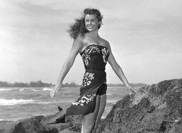 "This May 1950 file publicity photo originally released by Metro-Goldwyn-Mayer shows Esther Williams on location for the film ""Pagan Love Song. According to a press representative, Williams died in her sleep on Thursday, June 6, 2013, in Beverly Hills, Calif. She was 91. (AP)"