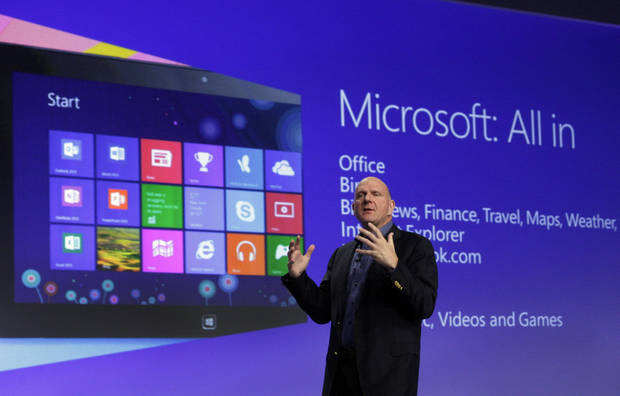 Microsoft CEO Steve Ballmer gives his presentation Thursday at the launch of Microsoft Windows 8 in New York.  AP Photo