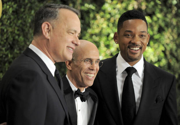 From left, Tom Hanks, Jeffrey Katzenberg and Will Smith arrive at the 4th Annual Governors Awards at Hollywood and Highland Center's Ray Dolby Ballroom on Saturday, Dec. 1, 2012, in Los Angeles. (Photo by Jordan Strauss/Invision/AP)