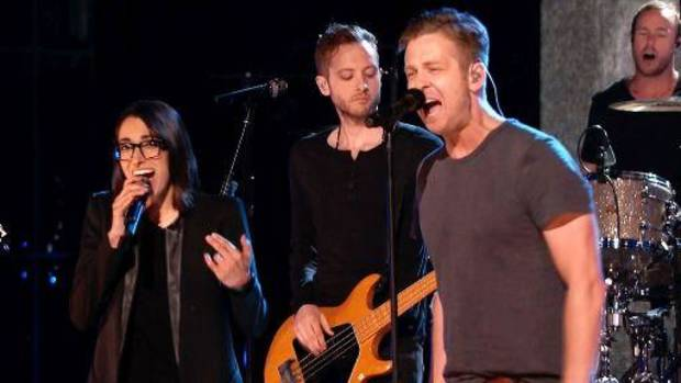 "Michelle Chamuel and Tulsa native Ryan Tedder of OneRepublic perform on the Season 4 ""The Voice"" finale. NBC photo"