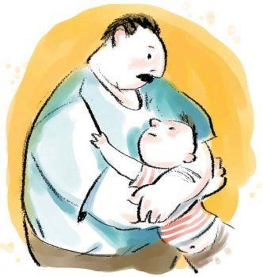 Hector Casanova color illustration of a father embracing his son. The Kansas City Star 2003