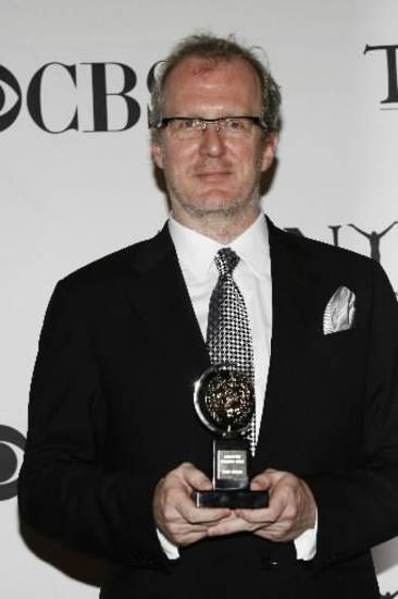 "Author Tracy Letts poses backstage with the Best Play Tony for ""August: Osage County"" at the 62nd Annual Tony Awards in New York, Sunday, June 15, 2008. (AP Photo/Stuart Ramson)"