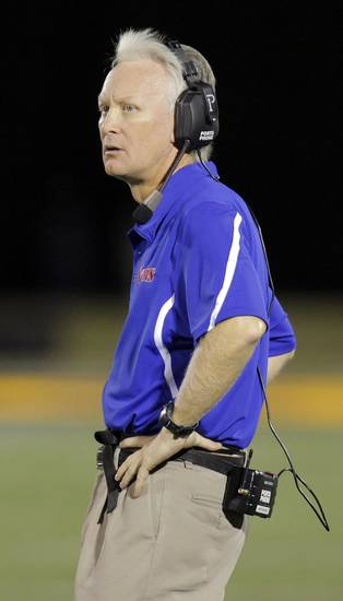 Moore head coach Scott Myers watches the field during a high school football game between Edmond Memorial and Moore at Wantland Stadium in Edmond, Okla., Thursday, Sept. 29, 2011. Photo by Nate Billings, The Oklahoman