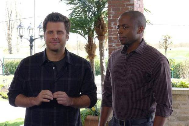 PSYCH -- &quot;Shawn Rescues Darth Vader&quot; Episode 6002 -- Pictured: (l-r) James Roday as Shawn Spencer, Dule Hill as Burton &quot;Gus&quot; Guster -- Photo by: Alan Zenuk/USA Network