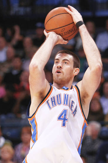 Oklahoma City Thunder forward Nick Collison is an Iowa native, but loves to live in Seattle.  Photo by Hugh Scott, The Oklahoman