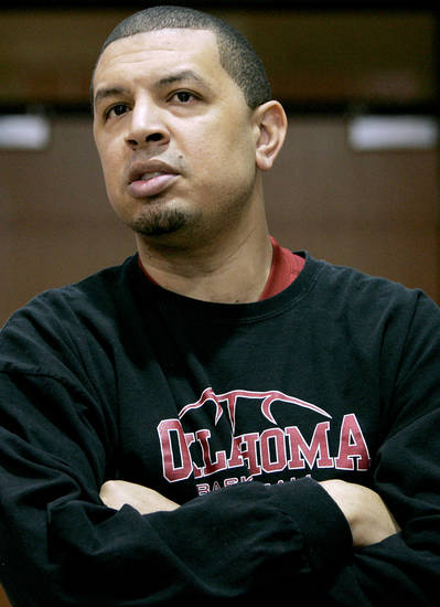 OU COLLEGE BASKETBALL: Jeff Capel listens to questions from the media before practice at the Lloyd Noble Center on the campus of the University of Oklahoma in Norman on Monday, Feb. 15, 2010. Photo by John Clanton, The Oklahoman ORG XMIT: KOD