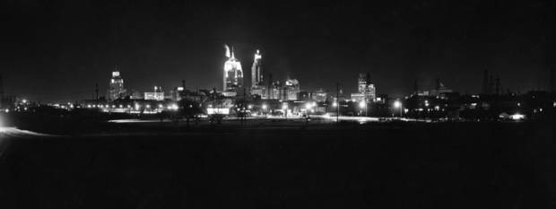 OKLAHOMA CITY / SKY LINE / OKLAHOMA / NIGHT SCENES:  View of City from the South.  Staff photo by Jim Lucas.  Photo dated 12/12/1961 and unpublished.  Photo arrived in library on 06/20/1962.