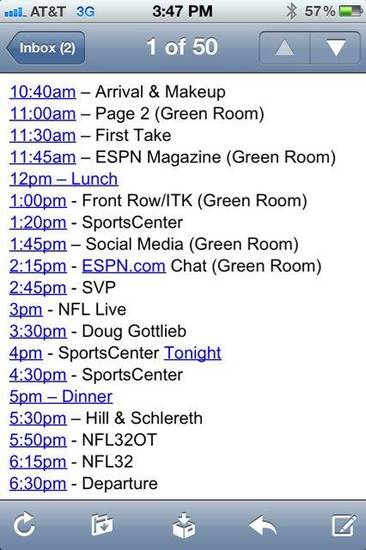 "Weeden's ""Car Wash"" schedule, courtesy OSU Athletics. https://www.facebook.com/OSUAthletics"