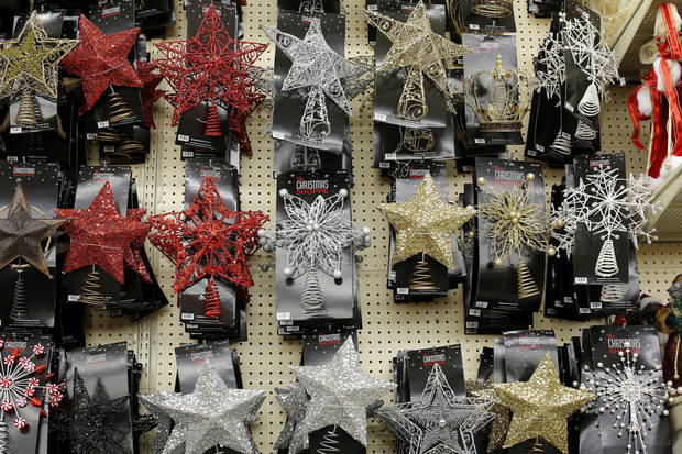 Tree toppers on display at Hobby Lobby in  Edmond.