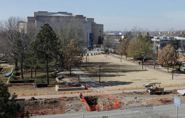 The Civic Center park, between the Civic Center Music Hall and City Hall, is surrounded by streets torn up as part of Project 180. Photo by Paul B. Southerland, The Oklahoman