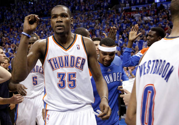 Oklahoma City&#039;s Kevin Durant (35) celebrates the Thunder&#039;s win following game one of the first round in the NBA playoffs between the Oklahoma City Thunder and the Dallas Mavericks at Chesapeake Energy Arena in Oklahoma City, Saturday, April 28, 2012. Photo by Sarah Phipps, The Oklahoman