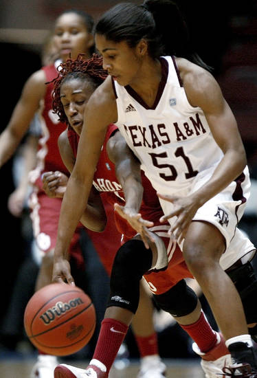 OU's Danielle Robinson (13) tries to get the ball from Texas A&M's Sydney Colson (51) during the women's college basketball Big 12 Championship tournament game between the University of Oklahoma and Texas A&M in Kansas City, Mo., Friday, March 11, 2011.  Photo by Bryan Terry, The Oklahoman
