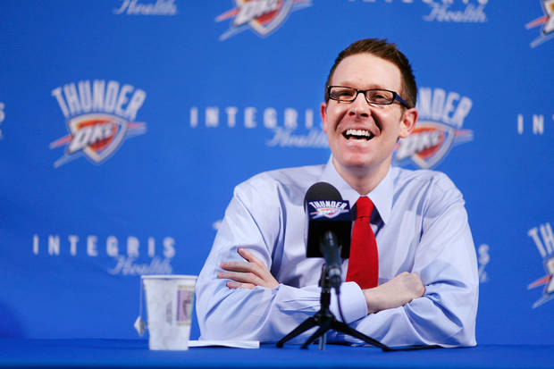Sam Presti, Oklahoma City Thunder general manager, talks about yesterday's player trades at a news conference in the Thunder practice facility, Friday afternoon, Feb. 25, 2011.     Photo by Jim Beckel, The Oklahoman