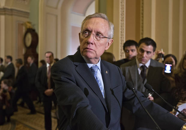 Senate Majority Leader Harry Reid of Nev. pauses during a news conference on Capitol Hill in Washington, Tuesday, March 5, 2013, following a Democratic strategy session. (AP Photo/J. Scott Applewhite)