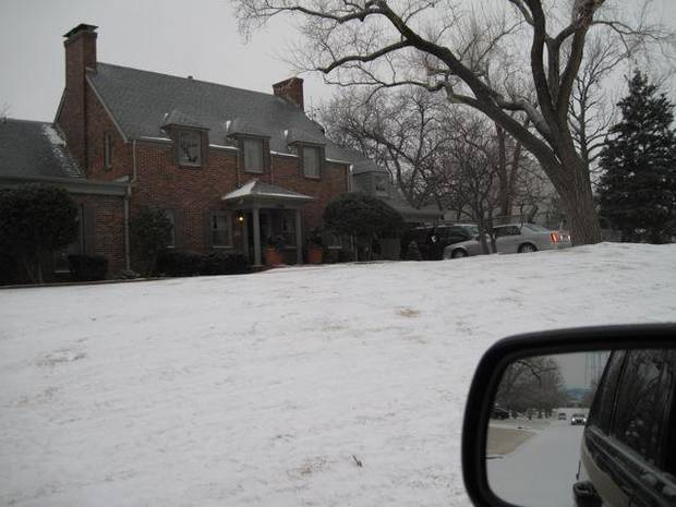 CELEBRATING KAREN AND KATHY..The Troy home featured lots of snow but  valet parking. (Photo by Helen Ford Wallace).
