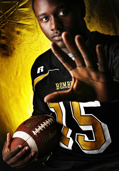 Midwest City High School's Timothy Flanders All Big City Halfback.  