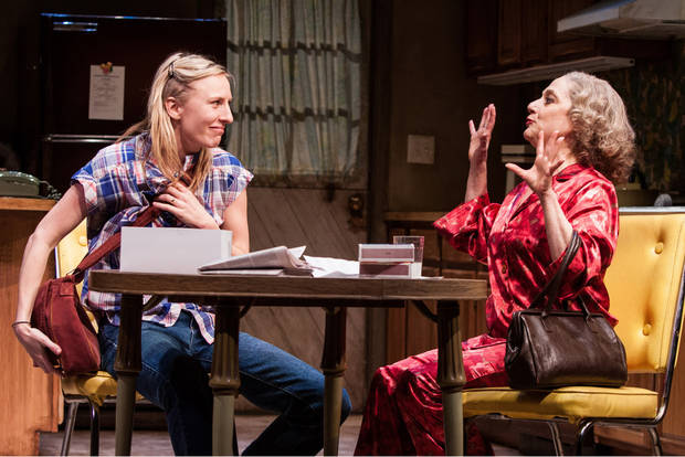 "This theater image released by Boneau/Bryan-Brown shows Mickey Sumner, left, and Carol Kane in a scene from Craig Lucas� new play, ""The Lying Lesson�, currently performing off-Broadway at The Atlantic Theater Company in New York.  (AP Photo/Boneau/Bryan-Brown, Kevin Thomas Garcia)"