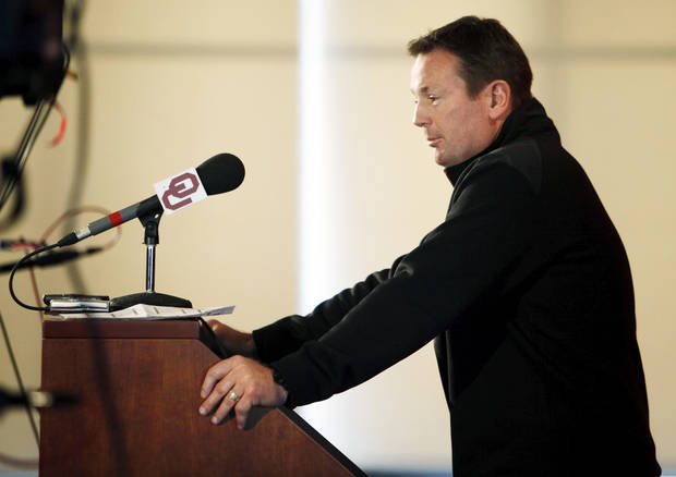 COLLEGE FOOTBALL: OU head coach Bob Stoops speaks to the media during his during spring football press conference in the stadium club of Gaylord Family-Oklahoma Memorial Stadium on the campus of the University of Oklahoma in Norman, Okla., Monday, March 5, 2012. Photo by Nate Billings, The Oklahoman