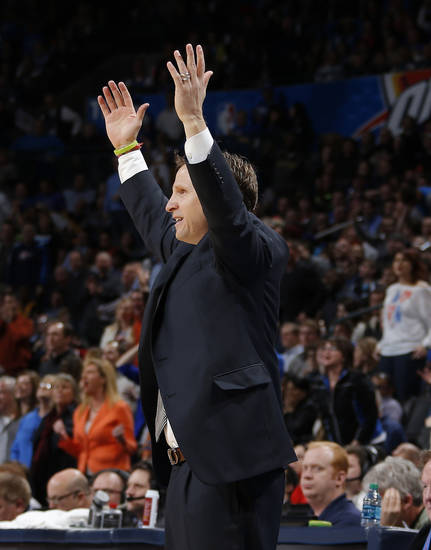 Oklahoma CIty coach Scott Brooks reacts during an NBA basketball game between the Oklahoma City Thunder and the Los Angeles Lakers at Chesapeake Energy Arena in Oklahoma City, Tuesday, March. 5, 2013. Photo by Bryan Terry, The Oklahoman