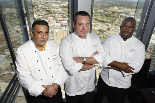 The VAST restaurant chefs, left to right, Veejooruth Purmessut, Executive Pastry Chef, Patrick Williams, Executive Chef and Andrew Black, VP Culinary Operations in the Devon Tower in Oklahoma City, Wednesday October 17, 2012. Photo By Steve Gooch, The Oklahoman