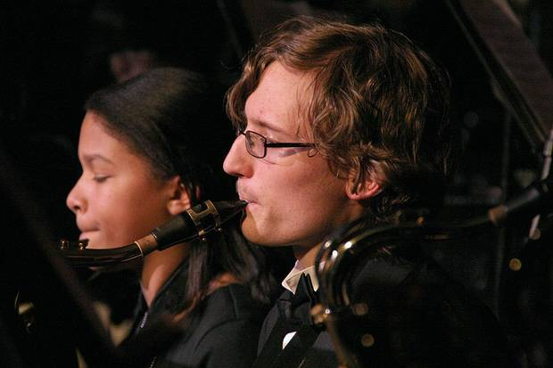 Hannah Key, left, and David Sprehe, members of the Putman City High School Wind Symphony, perform during the school�s winter concert. The event included performances from the school�s wind symphony, symphonic band and jazz ensemble. Photos by Terry Groover, The Oklahoman