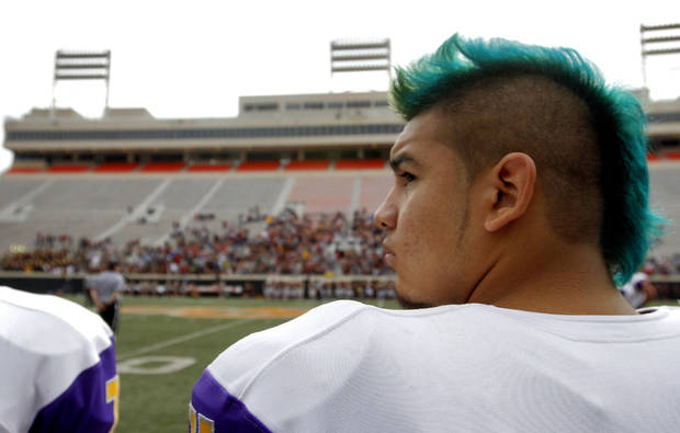 Anadarko's Mrkuss Wauahdooah (44) looks on from the sideline during the Class 4A Oklahoma state championship football game between Anadarko and Clinton at Boone Pickens Stadium on Saturday, Dec. 1, 2012, in Stillwater, Okla.   Photo by Chris Landsberger, The Oklahoman