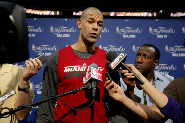 Miami's Shane Battier answers a question during a press conference for Game 3 of the NBA Finals between the Oklahoma City Thunder and the Miami Heat at American Airlines Arena in Miami, Saturday, June 16, 2012. Photo by Bryan Terry, The Oklahoman