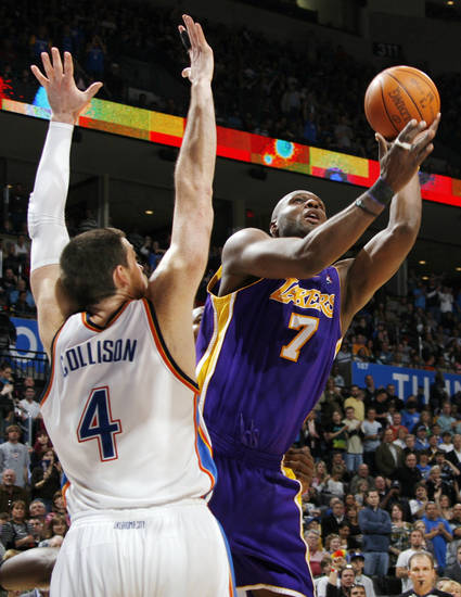 Lamar Odom (7) of Los Angeles shoots around Nick Collison (4) of Oklahoma City during the NBA basketball game between the Los Angeles Lakers and the Oklahoma City Thunder at the Ford Center in Oklahoma City, Friday, March 26, 2010. Oklahoma City won, 91-75. Photo by Nate Billings, The Oklahoman