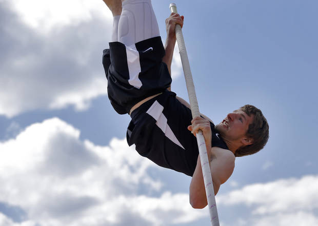 Buff/Ft. Supply's David Oden competes in the Class A pole vault during the Class A and 2A state championship track meet at Carl Albert High School on Friday, May 3, 2013, in Midwest City, Okla. Photo by Chris Landsberger, The Oklahoman