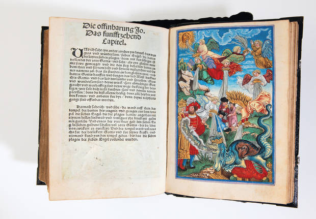 Luther New Testament, 1524. An extraordinarily rare and fabulously illustrated, painted and gilded early edition of Martin Luther's famous September Testament. The woodcuts series that accompany the Revelation provide a vivid and literal perspective on the meaning of the text.  The lavish copy was doubtless commissioned by a member of the nobility close to Luther. Photo provided