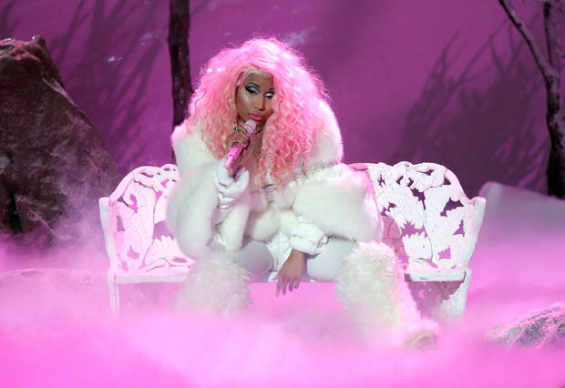   Nicki Minaj performs &acirc;Freedom&acirc; at the 40th Anniversary American Music Awards on Sunday, Nov. 18, 2012, in Los Angeles. (Photo by Matt Sayles/Invision/AP)  