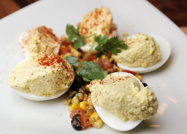Spicy deviled eggs at Hollie�s Flatiron Steakhouse. Photo by Nate Billings, The Oklahoman