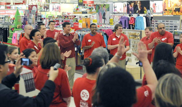 IMAGE DISTRIBUTED FOR TARGET - Gregg Steinhafel, Target CEO, joins a team rally prior to the Black Friday store opening on Thursday, Nov. 22, 2012 in Bloomington, Minn. (Janet Hostetter/AP Images for Target)